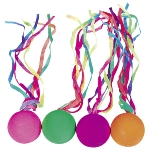 Solid rubber balls with ribbons