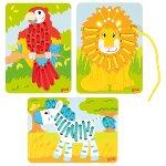 Threading game, parrot, lion, zebra