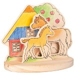 Wooden colouring picture, pony farm