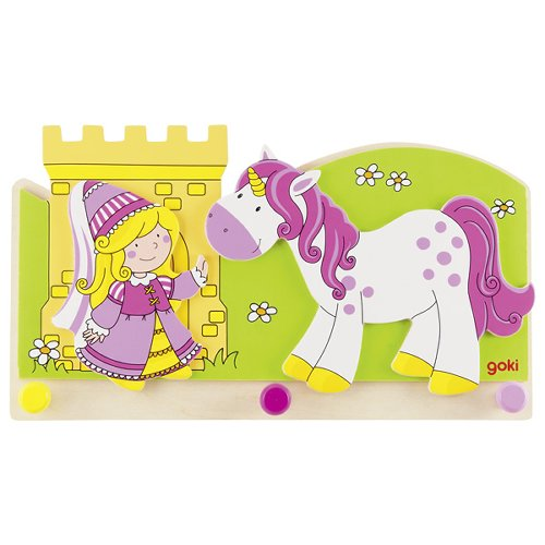 Portemanteau, petite princesse avec licorne